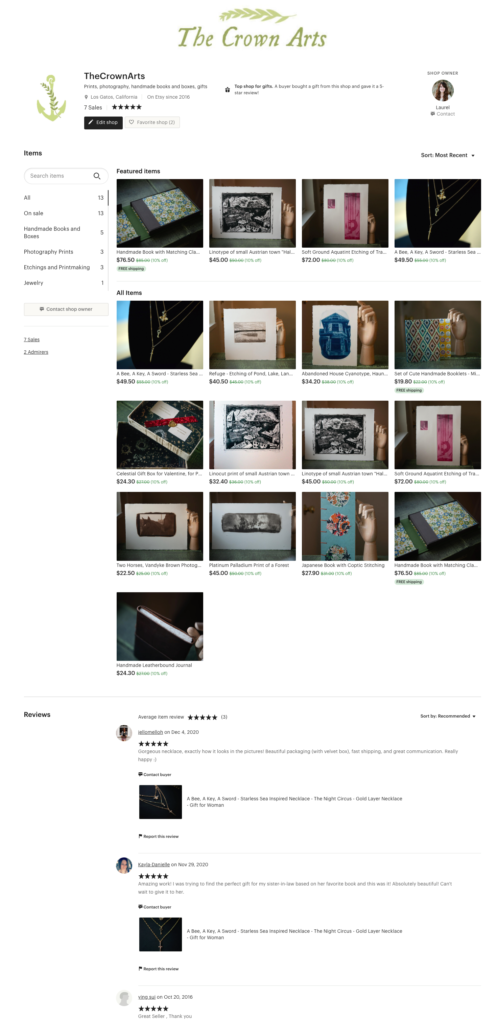 Screenshot of my Etsy Shop
